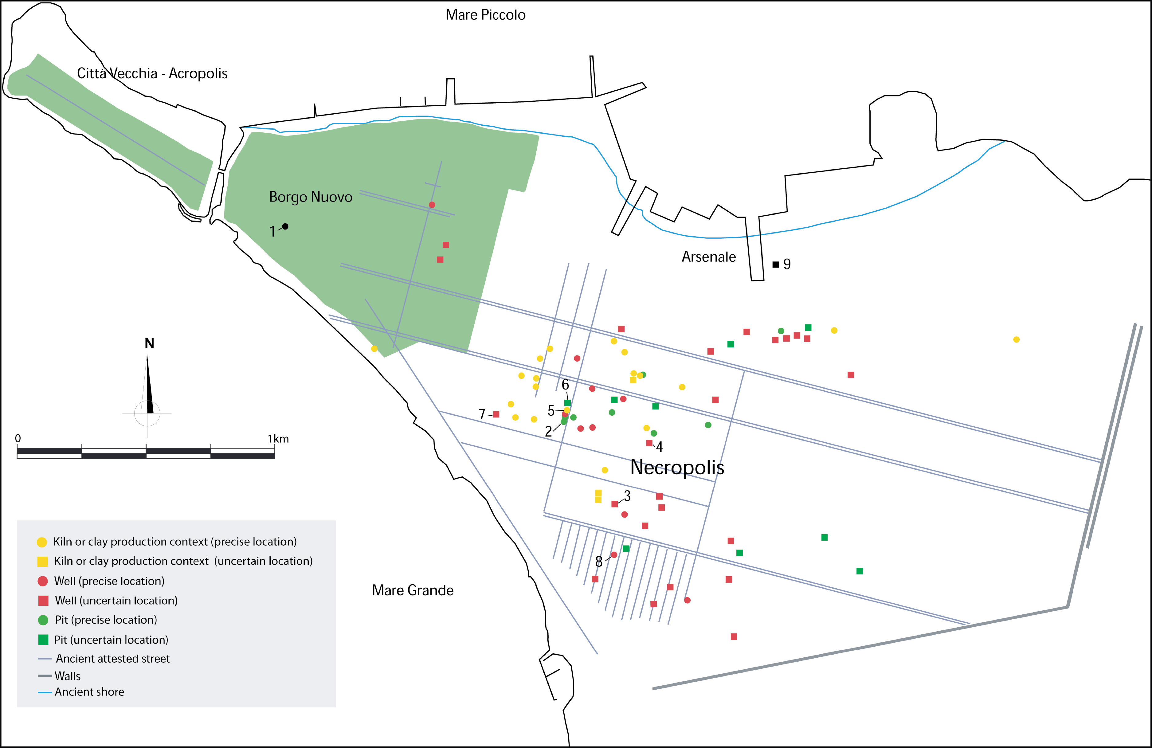 WF 26: Map of Classical Taras. Housing/settlement area of the acropolis and Borgo Nuovo (green). The area to the east inside the walls is principally ...