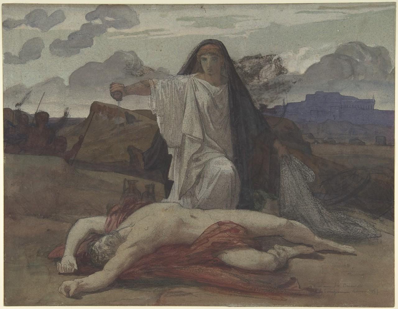 A painting of Antigone performing funeral rites on her slain brother