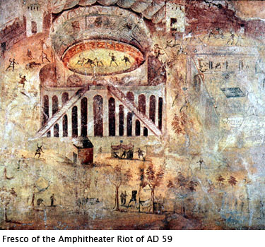 Pompeii amphitheater depicted on fresco from AD59 with gladiators fighting inside