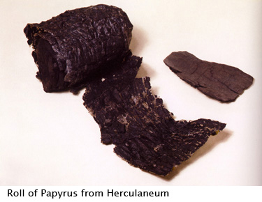 burnt roll of papyrus from Herculaneum