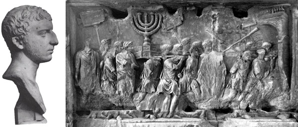 bust of Josephus on the left and a portion of the Arch of Tytus depicting the spoils taken from the Temple in Jerusalem in 70 CE on the right