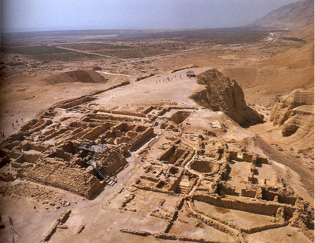 Aerial view of the ruins of the walls of the Qumran, Isreal